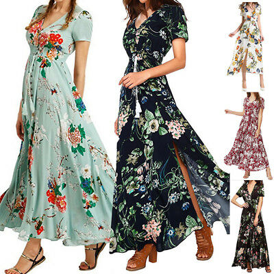 Women Fashion V Neck Boho Plus Size Long Maxi Dress Holiday Party Beach Sundress