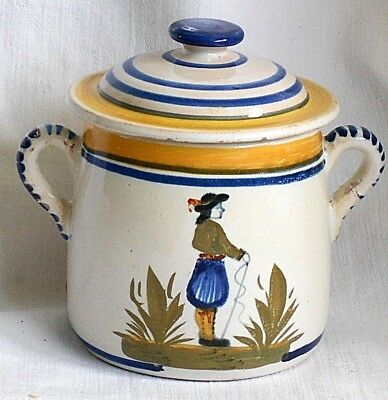 Henriot Quimper Preserve Pot And Cover Decorated With A Breton Man