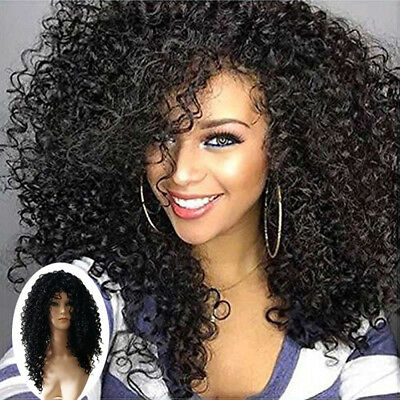 Women Long Black Wave Curly Fluffy Heat Resistant Cosplay Wig For Black Lady