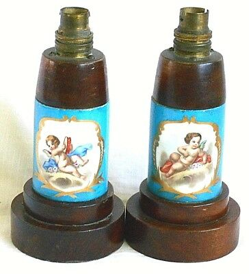 Pair Early C20Th Sevres Style Hand Painted Lamp Bases With Hand Painted Pictures