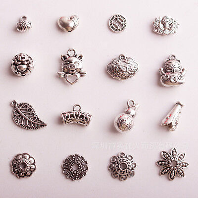 16 New Vintage Mixed Lots of Tibetan Silver Tone Flower Animal Charms Pendants