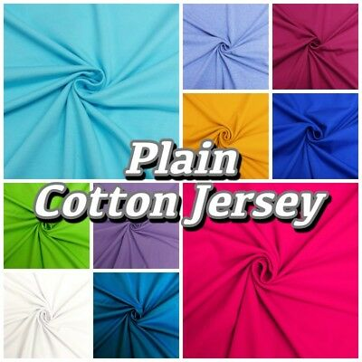 Plain Colour Cotton JERSEY Stretch Knit T-shirt Baby Grow Dressmaking Fabric