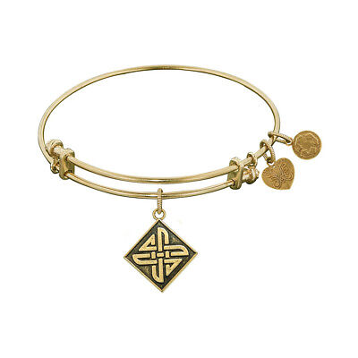 Antique Smooth Finish Brass Celtic Square Knot Angelica Bangle