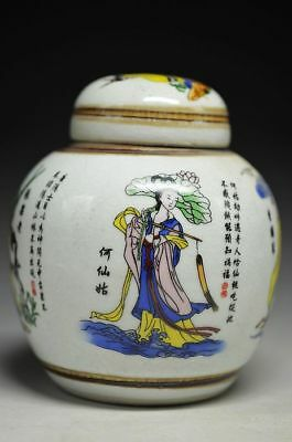 Antique Chinese Porcelain Eight Immortals Crossharbour Jar Tea Caddy Collection