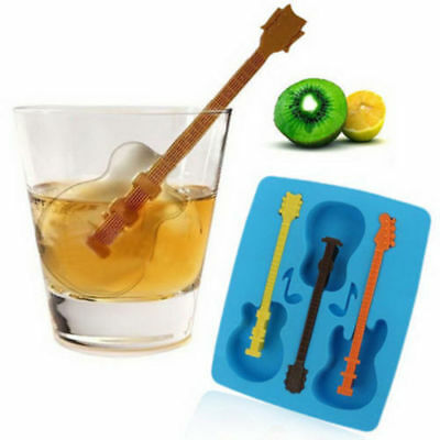 Silicone 3-Guitar Shaped Ice Cube Trays Music Note Candy Mold Stir Stick Summer