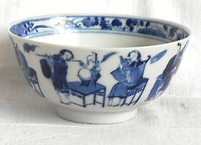 C19Th Chinese Blue And White Bowl Decorated With Various People Musicians