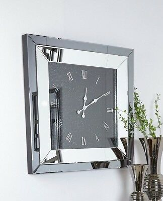 Large Smoked Glass Mirrored Square Wall Clock 90 x 90cm Sparkle Crushed Crystals