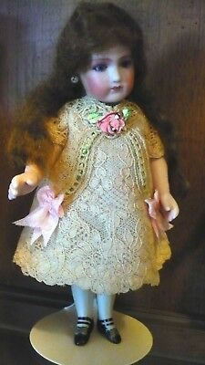 "VINTAGE ANTIQUE STYLE FRENCH LACE DRESS for 7-7.5"" ALL BISQUE MIGNONETTE DOLL"