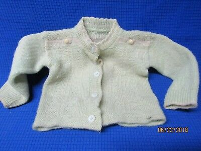 Vintage Hand Crochet Childs Sweater Green with white buttons
