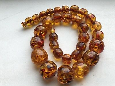 Vintage Soviet ambroid amber Necklace 135g ussr round Beads