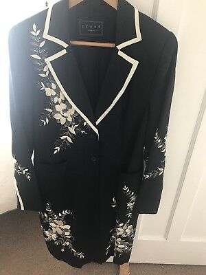 Coast London Ladies Floral Embroidered Linen Jacket Size 14