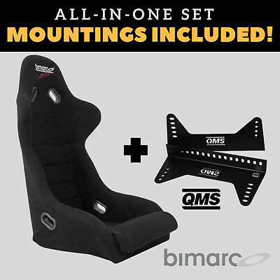 Bimarco Cobra II Racing Seat BLACK VELOUR Set with Bracket Mountings Included!