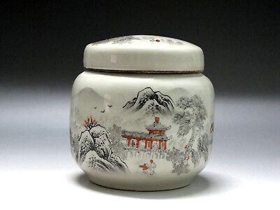 China Famille Rose Porcelain Tea caddy Pot landscape figure boat Pavilion Pot