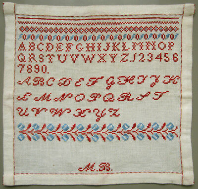 C. 1900 Antique Red & Blue Alphabet Sampler Numbers Borders Dutch Cross Stitch