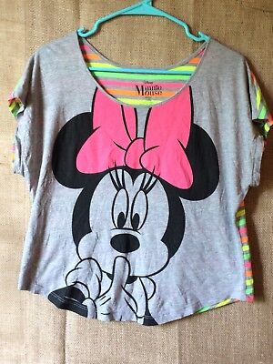 f1a4c7443326e DISNEY MINNIE MOUSE grey Crop Top with Neon Striped Back Sz L N6 ...