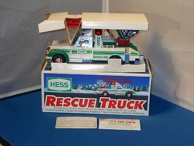 1994 Hess Battery Operated Rescue Truck In Original Box! Tested & Works!