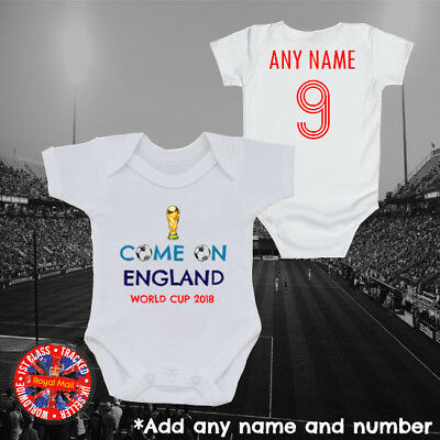 England Inspired World Cup Personalised Baby Grow Vest, Come on England, Gift