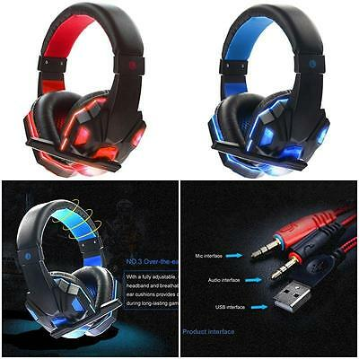 PC Computer Gaming Headphone Headset with Mic LED Surround Sound Stereo Bass a1