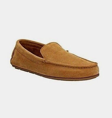 Clarks Mens Leather Slippers Tan Size 10 Loafer Indoor Shoes Lounge Carpet sz 11