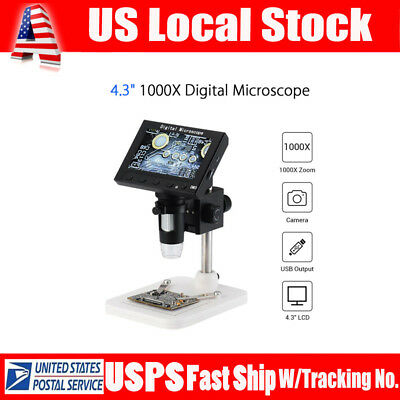 "4.3"" Professional 1080P 1000X Zoom Digital Microscope Magnifier Camera w/Stand"