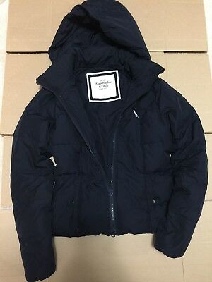 Abercrombie & Fitch Women's Navy Blue Puffer Coat Jacket With Hood Size S Nwot