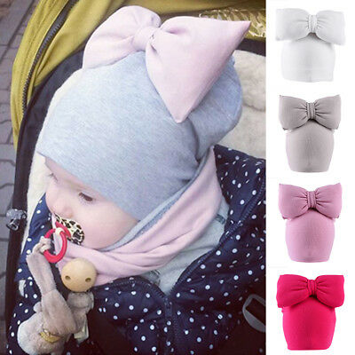 Toddler Baby Infant Girls Fiocco di lana Morbido elastico Cappello Beanie