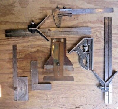 Mixed lot of Vintage L S Starrett & Brown & Sharpe plus more Combination Squares