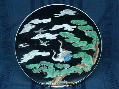 Antique Chinese Late Qing Dynasty Famille Noire Porcelain Storks Design Plate