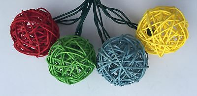 UL 10 Lights 2.5in Red/Green/Blue/Yellow Rattan Ball with Clear Bulb String for