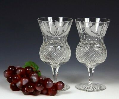 Two Edinburgh Crystal Thistle Large Water / Wine Goblet First Quality & Signed