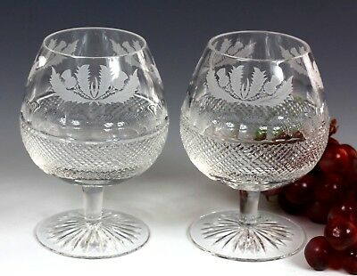 Two Large Edinburgh Crystal Thistle Design Brandy Glass First Quality & Signed