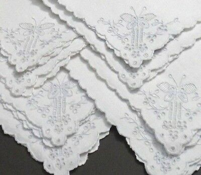 8 Madeira Embroidery Tea Luncheon Napkins 14 inch Gorgeous Detailed Butterflies