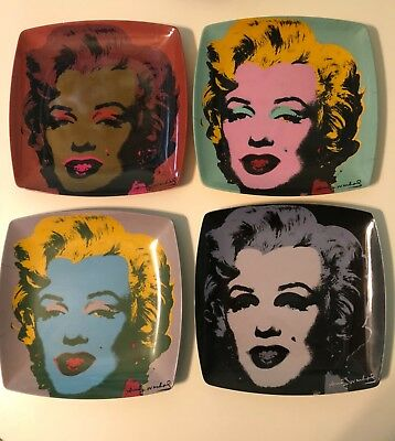 RARE set of 4 Andy Warhol color block Marilyn Monroe melamine plates