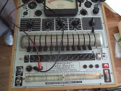 Precision Model 10-12 Tube Master And Battery Tester W/ Manuals & Charts, Usa