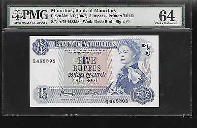Mauritius 5 rupees PMG  64 UNC  1967 ND