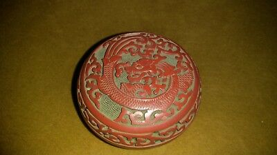 Old Chinese Carved Dragon Red Cinnabar Blue Enamel Round Trinket.