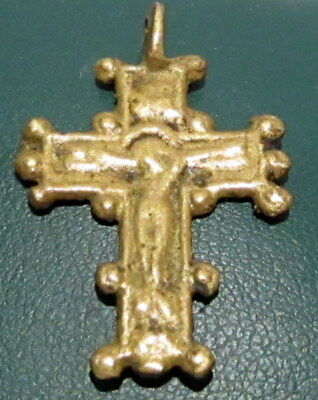Amazing Medieval Or Post-Medieval Bronze Pendant Cross # 61