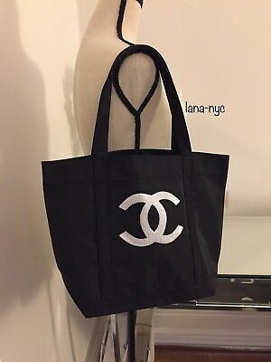 Chanel Precision VIP Gift Black with White Sequin CC Logo Shopping Tote Bag