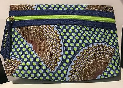 Estee Lauder Cosmetic Makeup Bag  -  Blue Green & Brown ~ NEW