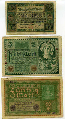 Lot of (14) Diff. Inflation 1920's GERMANY German Banknotes Paper Money Currency