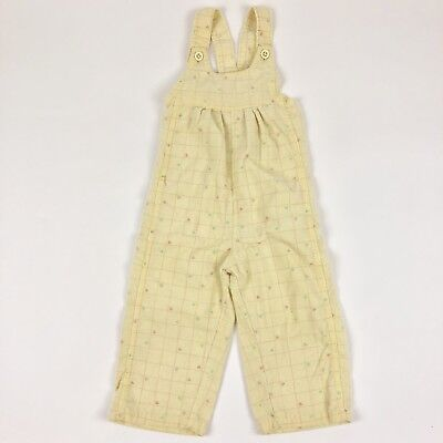 Vtg 80s Healthtex Heart Overalls Yellow Corduroy Toddler Girls 2T
