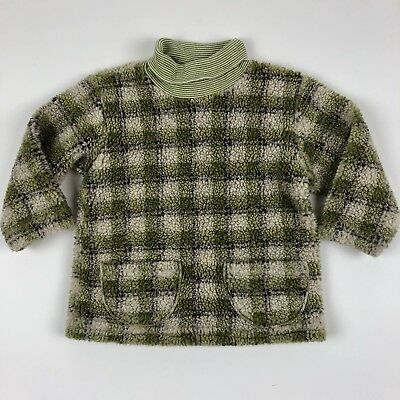 Vintage Sweet Potatoes Turtleneck Fuzzy Sweater Tunic Green Plaid Toddler 2T