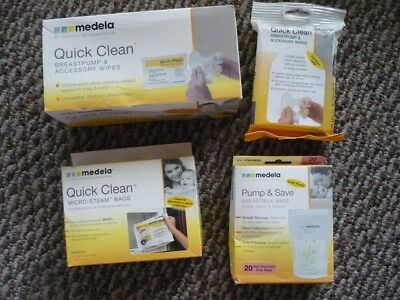 LOT OF 4 Medela Breastmilk & Micro-Steam Bags Quick Clean Accessory Wipes