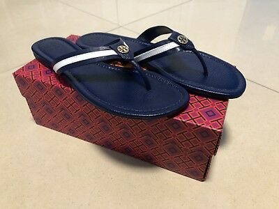 dced280599d  NIB  Tory Burch Maritime Thong Flat Sandal Navy Sea Blue White Stripe Size  11