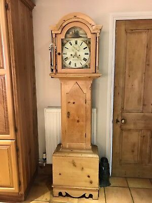 Small Pine Longcase 8 Day Grandfather Clock - J Hodge of Helston Circa 1820