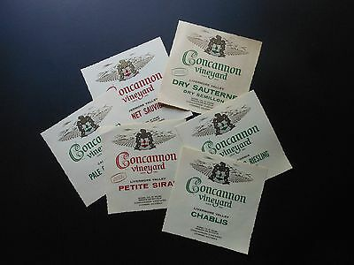 6 Vtg Wine Bottle Labels Concannon Chablis, Petite Sirah, Pale Dry Sherry ++++++