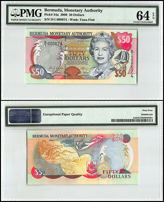 Bermuda 50 Dollars, 2000, P-54a, Queen Elizabeth II, Low Serial # 000674, PMG 64