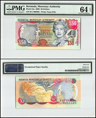 Bermuda 50 Dollars, 2000, P-54a, Queen Elizabeth II, Low Serial # 000686, PMG 64