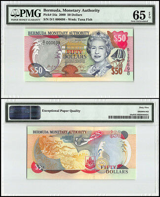 Bermuda 50 Dollars, 2000, P-54a, Queen Elizabeth II, Low Serial # 000698, PMG 65