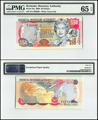 Bermuda 50 Dollars, 2000, P-54a, Queen Elizabeth II, Low Serial # 000699, PMG 65